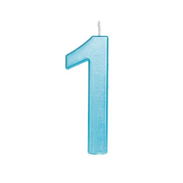 Vela de Aniversário nº1  Metalizado Azul G - 01 unidade - Cromus - Rizzo Festas