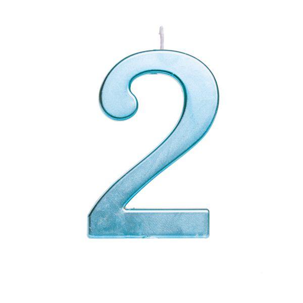Vela de Aniversário nº2  Metalizado Azul G - 01 unidade - Cromus - Rizzo Festas