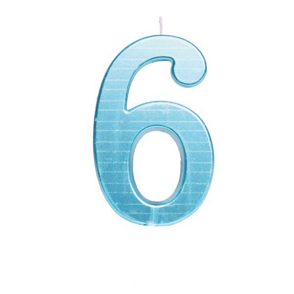 Vela de Aniversário nº6  Metalizado Azul G - 01 unidade - Cromus - Rizzo Festas