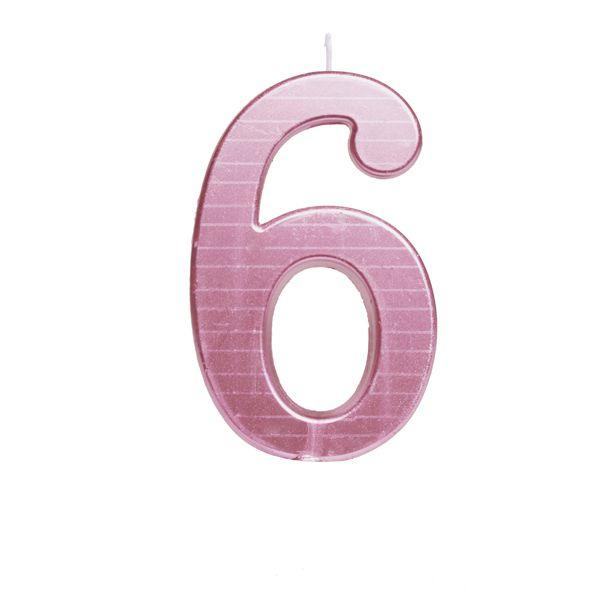 Vela de Aniversário nº6  Metalizado Rosa G - 01 unidade - Cromus - Rizzo Festas