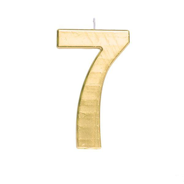 Vela de Aniversário nº7  Metalizado Ouro G - 01 unidade - Cromus - Rizzo Festas