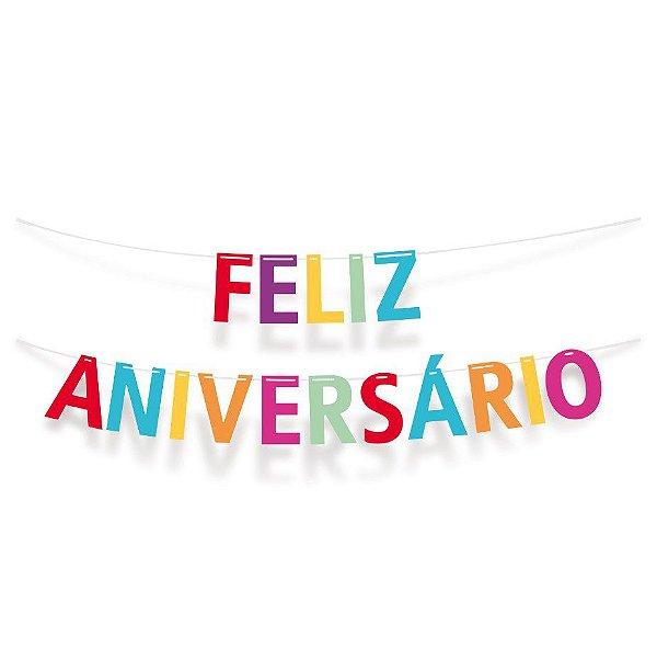 Faixa Feliz Aniversario Festa Cores - Cromus - Rizzo Festas