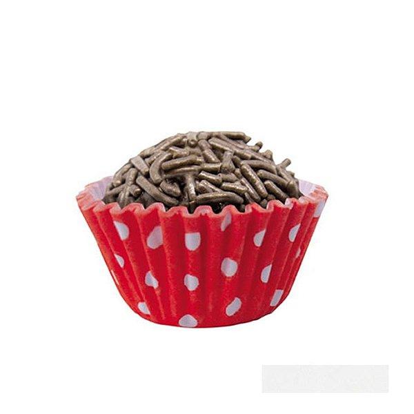 Forminhas para Doces Nº 5 Vermelha Poá Branco 100 unidades Mago Rizzo Embalagens
