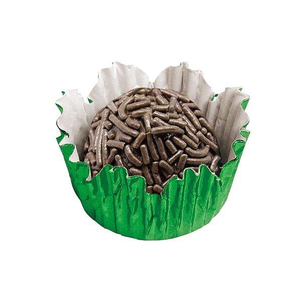 Forminhas para Doces N° 4 Recortada Verde Metalizada com 50 unidades Mago Rizzo Embalagens