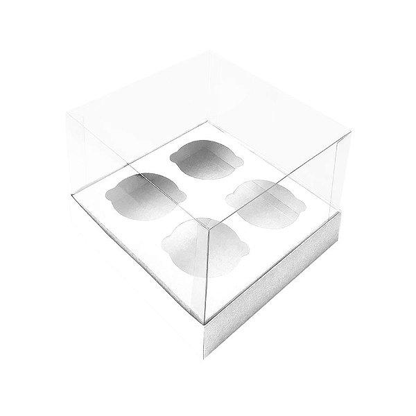 Caixa Mini Cupcake com Tampa Transparente 4 Cavidades (11cm x 11cm x 8,5cm) Branca 10 unidades Assk Rizzo Embalagens