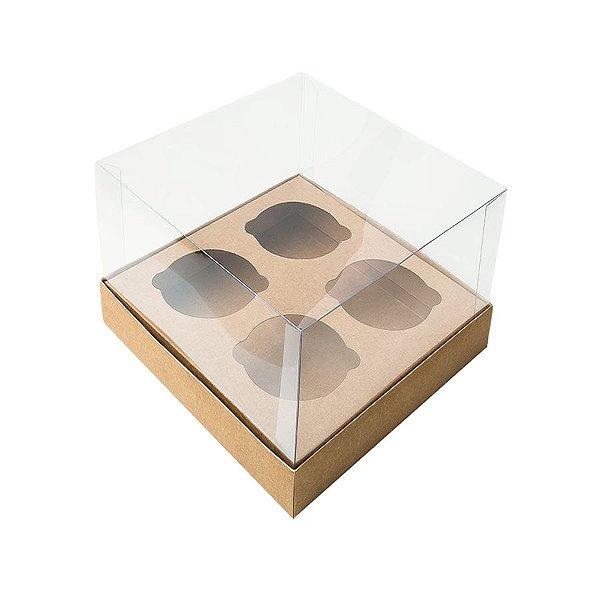 Caixa Mini Cupcake com Tampa Transparente 4 Cavidades (11cm x 11cm x 8,5cm) Kraft 10 unidades Assk Rizzo Embalagens