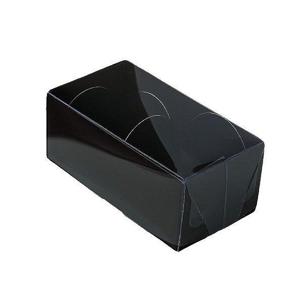 Caixa 2 Doces com Tampa Transparente Nº 2 (8,5cm x 4cm x 4cm) Preta 10 unidades Assk Rizzo Embalagens