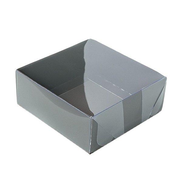 Caixa 4 Doces com Tampa Transparente Nº 4 (8cm x 8cm x 5cm) Marrom 10 unidades Assk Rizzo Embalagens