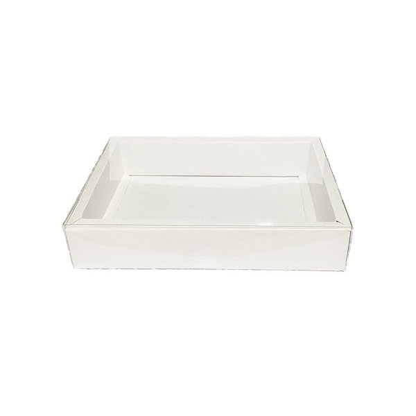Caixa com Tampa Transparente Nº 7 (14cm x 20cm x 4cm) Branca 10 unidades Assk Rizzo Embalagens