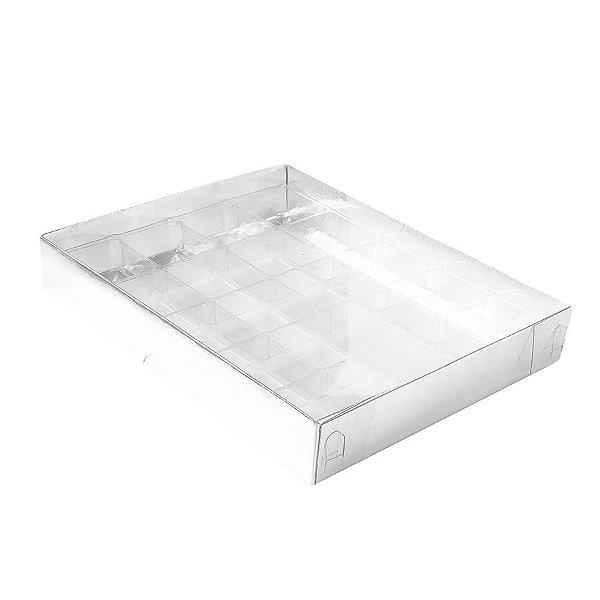 Caixa 20 Doces com Berço Tampa Transparente Nº 1 (19,5cm x 15,5cm x 3cm) Prata 10 unidades Assk Rizzo Embalagens