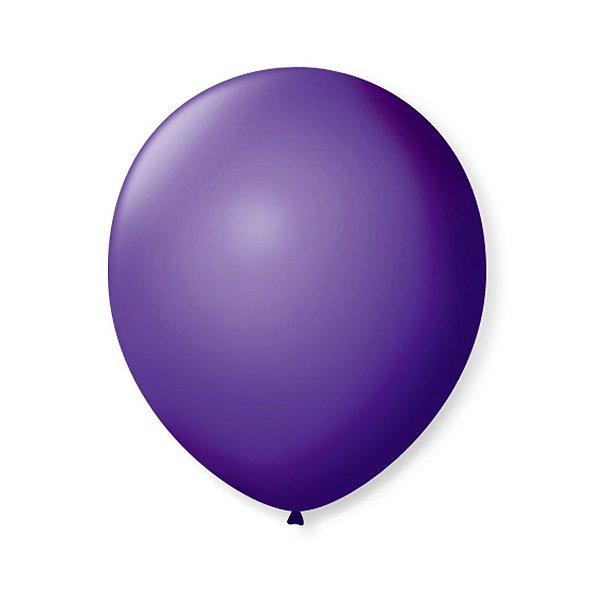 Balão de Festa Latex 9'' 23cm - Roxo Uva - 50 unidades - São Roque - Rizzo Festas