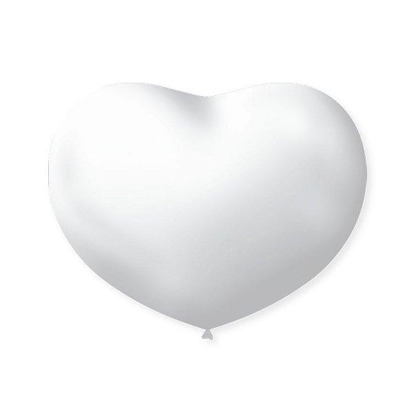 Balão de Coração em Latex 6'' 15cm - Branco Polar - 50 unidades - São Roque - Rizzo Festas