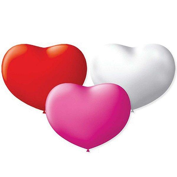 Balão de Coração em Latex 11'' 28cm - Sortido - 20 unidades - São Roque - Rizzo Festas