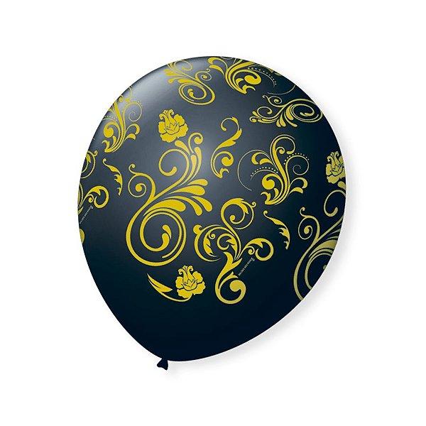 Balão de Festa Preto Arabesco Dourado 9'' 23cm - 25 unidades - São Roque - Rizzo Festas