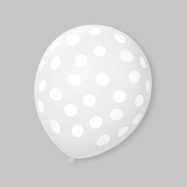 Balão de Festa Bolinhas Transparente Poá Branco 9'' 23cm - 25 unidades - São Roque - Rizzo Festas