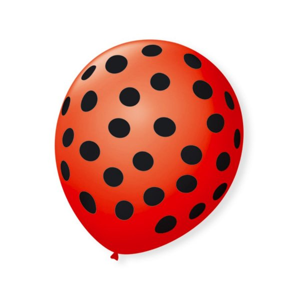 Balão de Festa Bolinhas Vermelho Poá Preto 9'' 23cm - 25 unidades - São Roque - Rizzo Festas