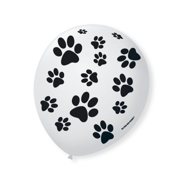 Balão de Festa Cachorrinhos Patinhas  9'' 23cm - 25 unidades - São Roque - Rizzo Festas