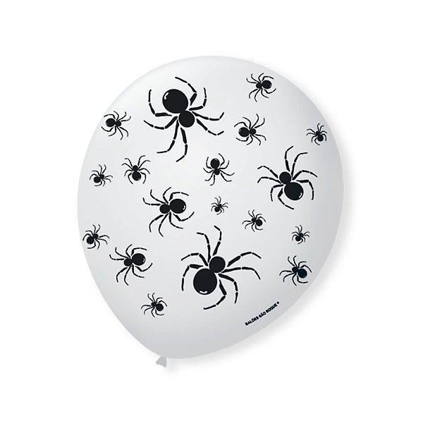 Balão de Festa Halloween Branco Aranha Preta 9'' 23cm - 25 unidades - São Roque - Rizzo Festas