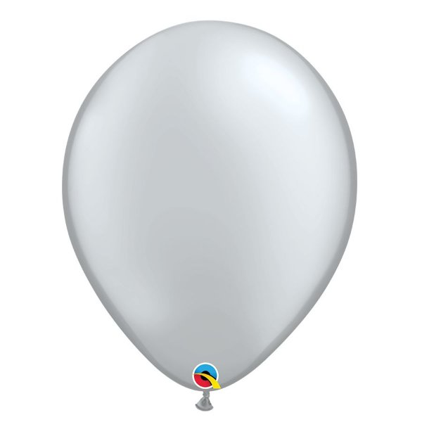 Balão Qualatex Perolado Radiante Opaco Prata 11'' 5 unidades Profissional - Rizzo Festas
