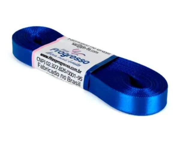 Fita de Cetim Progresso 10mm nº2 - 10m Cor 214 Azul Royal - 01 unidade - Rizzo Embalagens