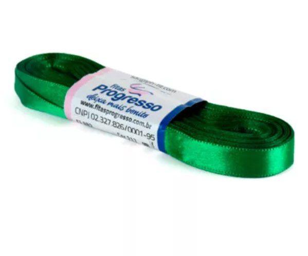 Fita de Cetim Progresso 10mm nº2 - 10m Cor 217 Verde Bandeira - 01 unidade - Rizzo Embalagens