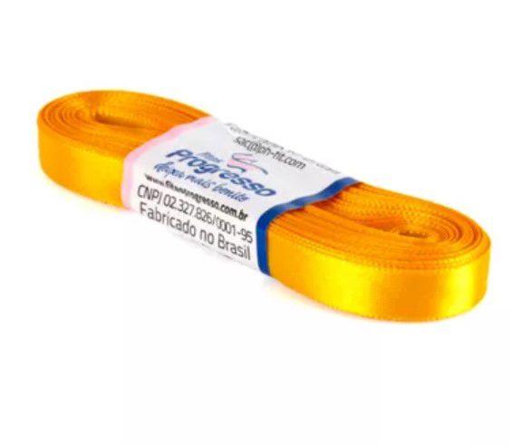 Fita de Cetim Progresso 10mm nº2 - 10m Cor 038 Amarelo Ouro - 01 unidade - Rizzo Embalagens