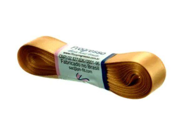 Fita de Cetim Progresso 15mm nº3 - 10m Cor 228 Ouro - 01 unidade - Rizzo Embalagens