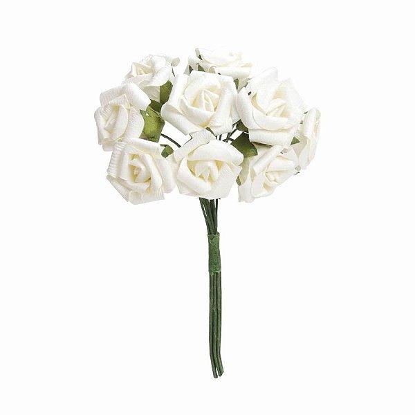 Mini Bouquet de Flores Brancas 2cm - 02 unidades - Cromus Casamento Classico - Rizzo Festas
