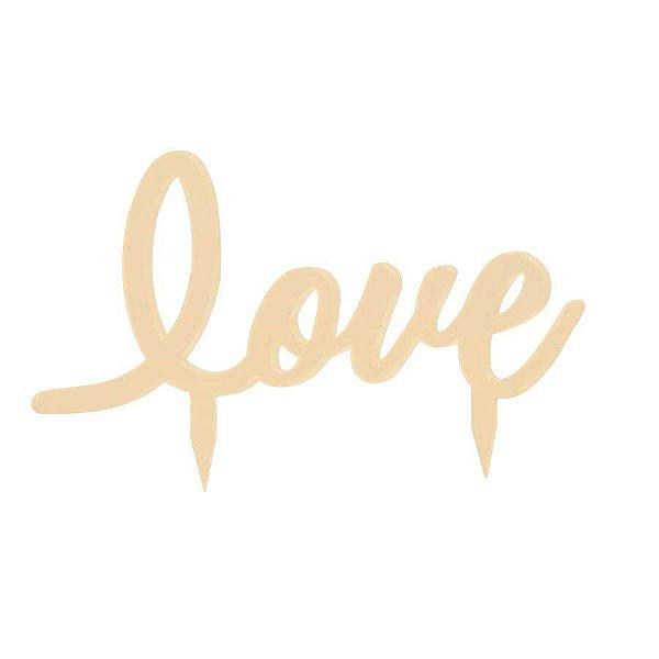 Topo de Bolo Love Marfim - 01 unidade - Cromus Casamento Rustico - Rizzo Festas