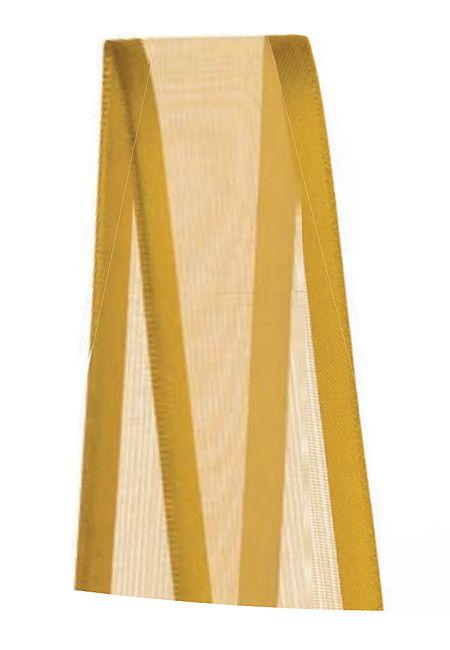 Fita de Voal com Cetim ZC005 22mm Cor 228 Ouro - 10 metros - Progresso - Rizzo Embalagens
