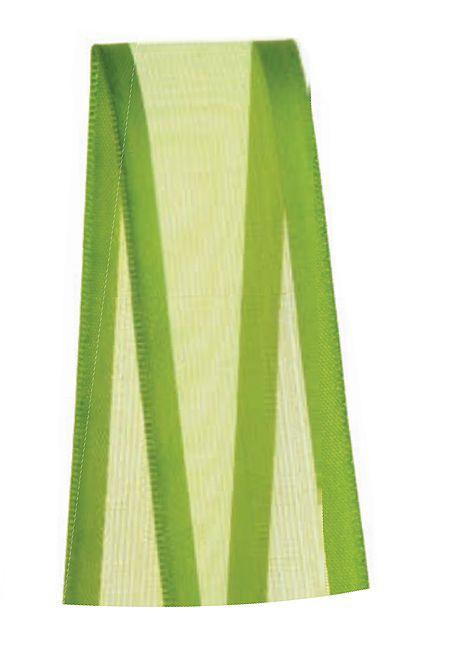 Fita de Voal com Cetim ZC005 22mm Cor 677 Verde Folha - 10 metros - Progresso - Rizzo Embalagens