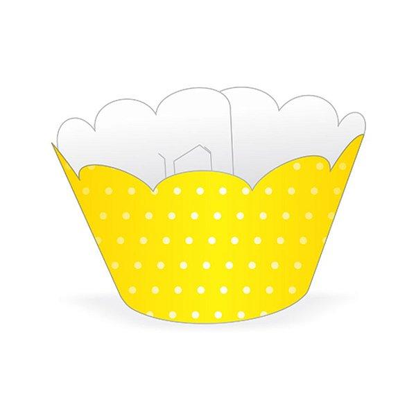 Mini Wrapper Mini Cupcake - Amarelo Poá Branco - 3cm x 14,5cm - 12 unidades - Nc Toys - Rizzo Embalagens