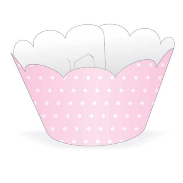 Wrapper Cupcake Tradicional - Rosa Poá - 5cm x 22cm - 12 unidades - Nc Toys - Rizzo Embalagens