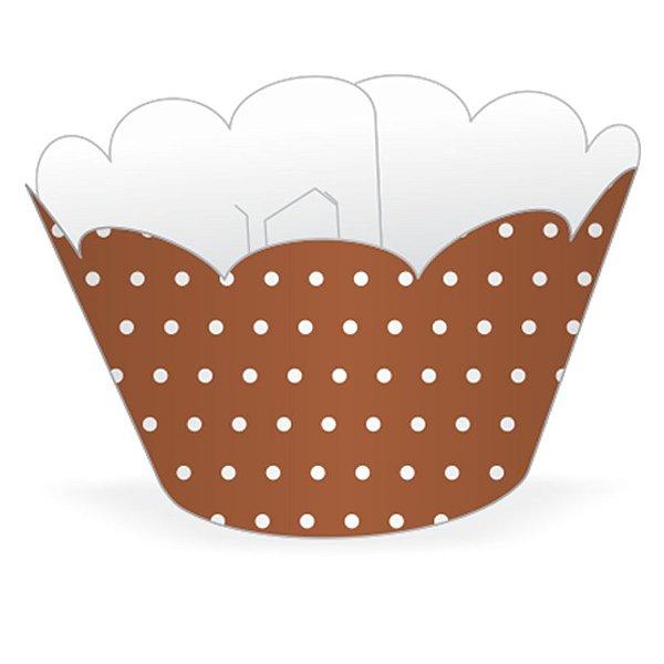 Wrapper Cupcake Tradicional - Marrom Poá - 5cm x 22cm - 12 unidades - Nc Toys - Rizzo Embalagens