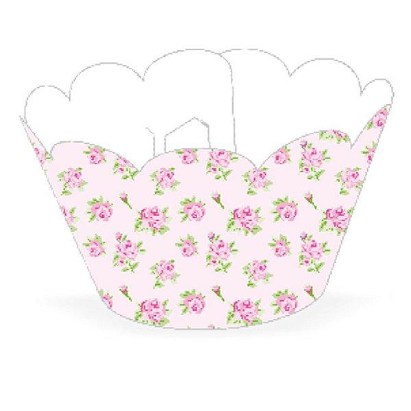 Wrapper Cupcake Tradicional - Floral Rosa - 5cm x 22cm - 12 unidades - Nc Toys - Rizzo Embalagens
