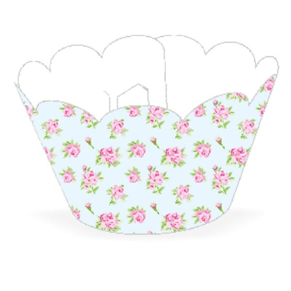 Wrapper Cupcake Tradicional - Floral Azul - 5cm x 22cm - 12 unidades - Nc Toys - Rizzo Embalagens
