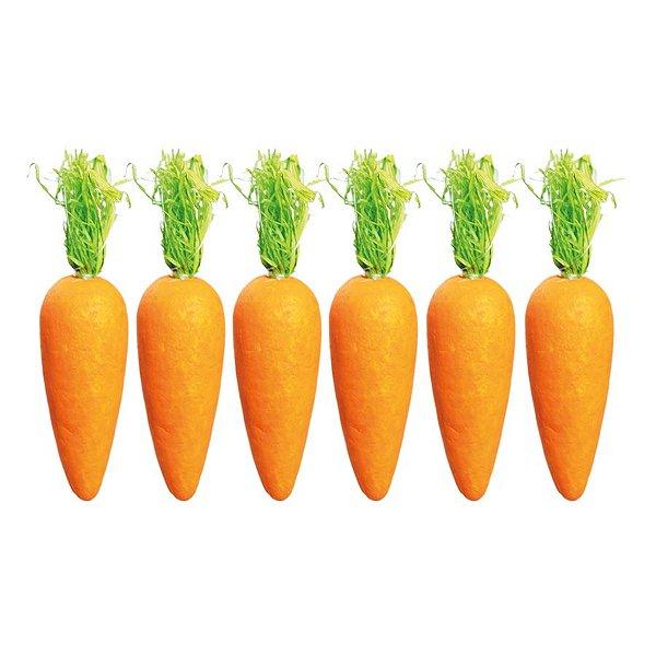 Cenoura em Isopor para Decoração de Páscoa  - 12cm x 2,5cm - 6 unidades - Cromus Páscoa Rizzo Embalagens