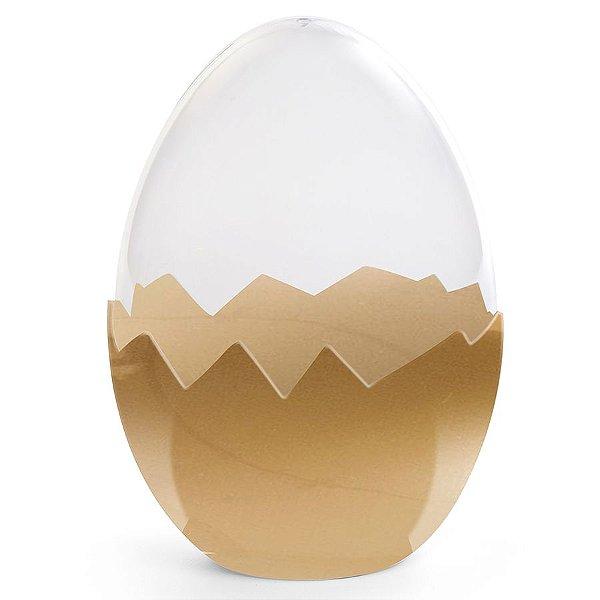 Ovo Transparente Base Dourada em Acrílico - G 17cm x 12cm - Cromus Páscoa - Rizzo Embalagens