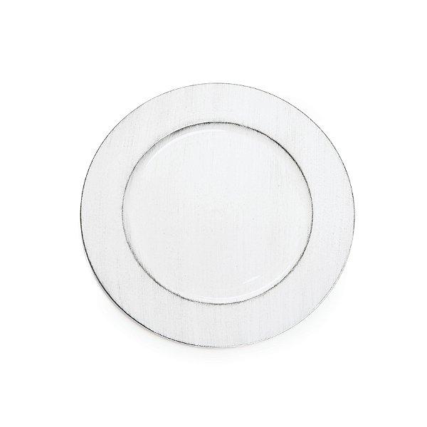 Sousplats em Resina Liso Envelhecido Branco Decoração de Páscoa - 33cm - Cromus Páscoa - Rizzo Embalagens