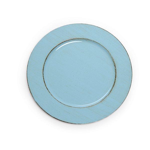 Sousplats em Resina Liso Envelhecido Azul Decoração de Páscoa - 33cm - Cromus Páscoa - Rizzo Embalagens