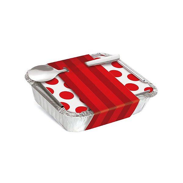 Marmitinha Com Cinta Listras Vermelho 8,5x6,5x2,5cm - 12 unidades - Cromus - Rizzo Embalagens