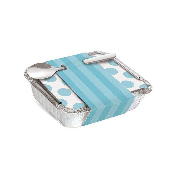 Marmitinha Com Cinta Listras Azul 8,5x6,5x2,5cm - 12 unidades - Cromus - Rizzo Embalagens