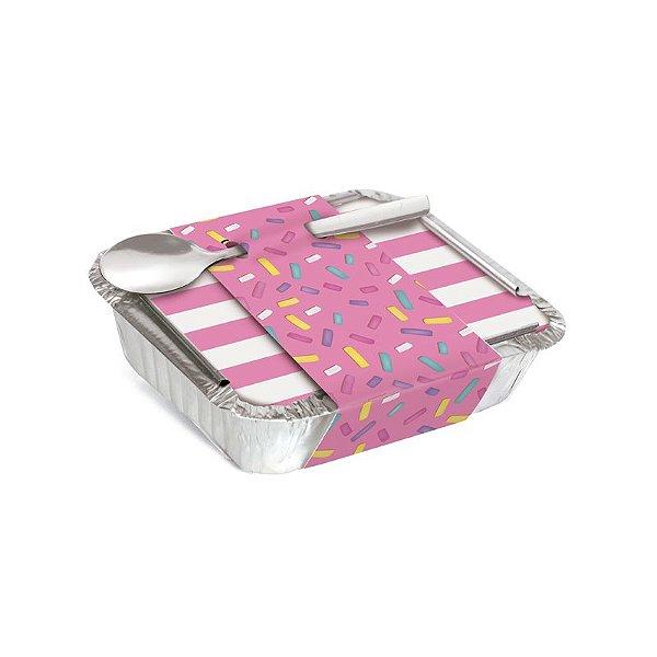 Marmitinha Com Cinta Granulado Rosa 8,5x6,5x2,5cm - 12 unidades - Cromus - Rizzo Embalagens
