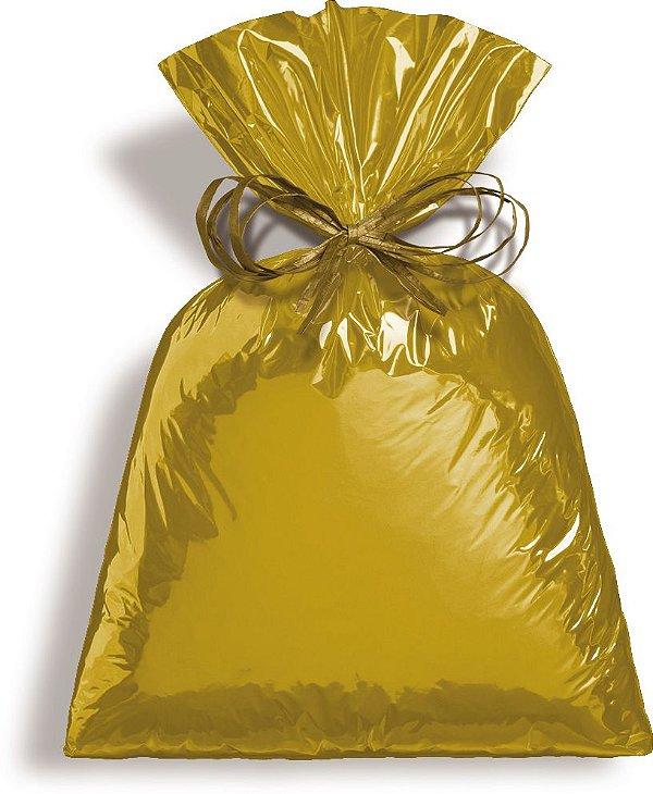 Saco Metalizado Dourado 50x70cm - 25 unidades - Cromus - Rizzo Embalagens