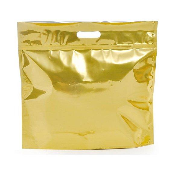 Sacola Metalizada com Zip P 32x40x5cm Dourado - 01 unidade - Cromus - Rizzo Embalagens