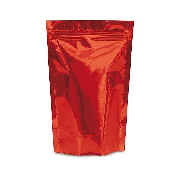 Sacolinha Metalizada com Zip 12x16cm Vermelho - 08 unidades - Cromus - Rizzo Embalagens
