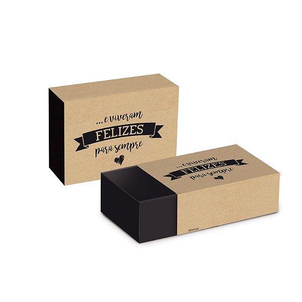 Caixa Luva Felizes para Sempre 9,2x6,5x3,9cm  - 08 unidades - Cromus - Rizzo Embalagens