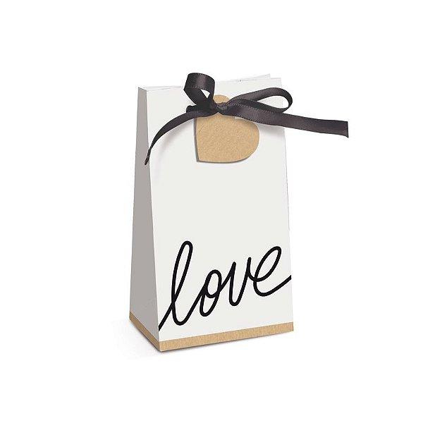 Caixa Special Trapézio Branco Love Felizes para Sempre 7,5x4x13cm  - 08 unidades - Cromus - Rizzo Embalagens