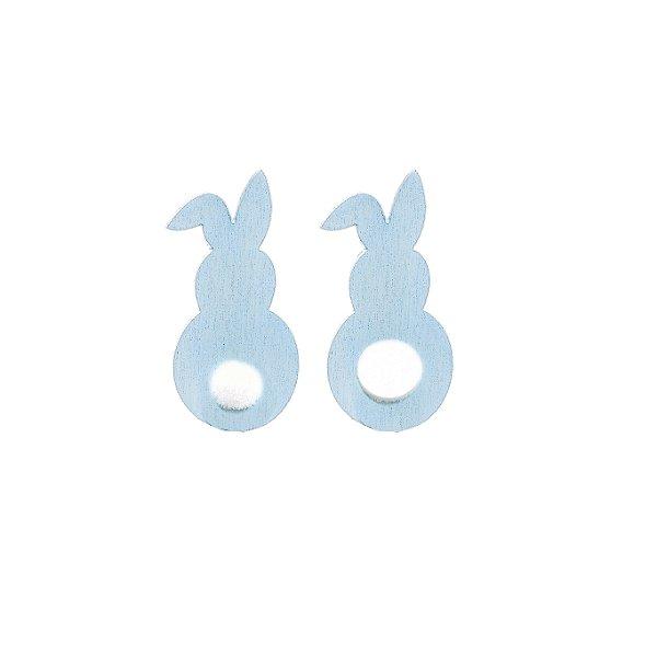 Aplique de Páscoa Coelho Madeira Azul com Pompom - 12 unidades - Cromus Páscoa - Rizzo Embalagens