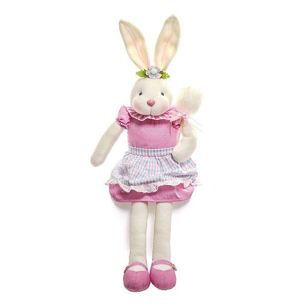 Coelha em Pé Algodão Doce Rosa - 34cm x 15cm x 11cm - Linha Pastille - Cromus Páscoa - Rizzo Embalagens